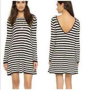 Free People Cream & Black Striped Sweater Dress